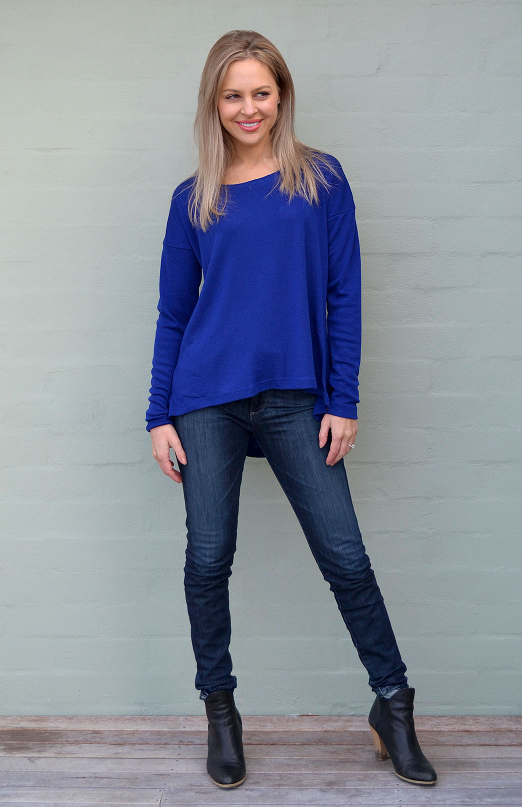 Lola Top - Women's Sapphire Blue Wool Long Sleeve Winter Top - Smitten Merino Tasmania Australia