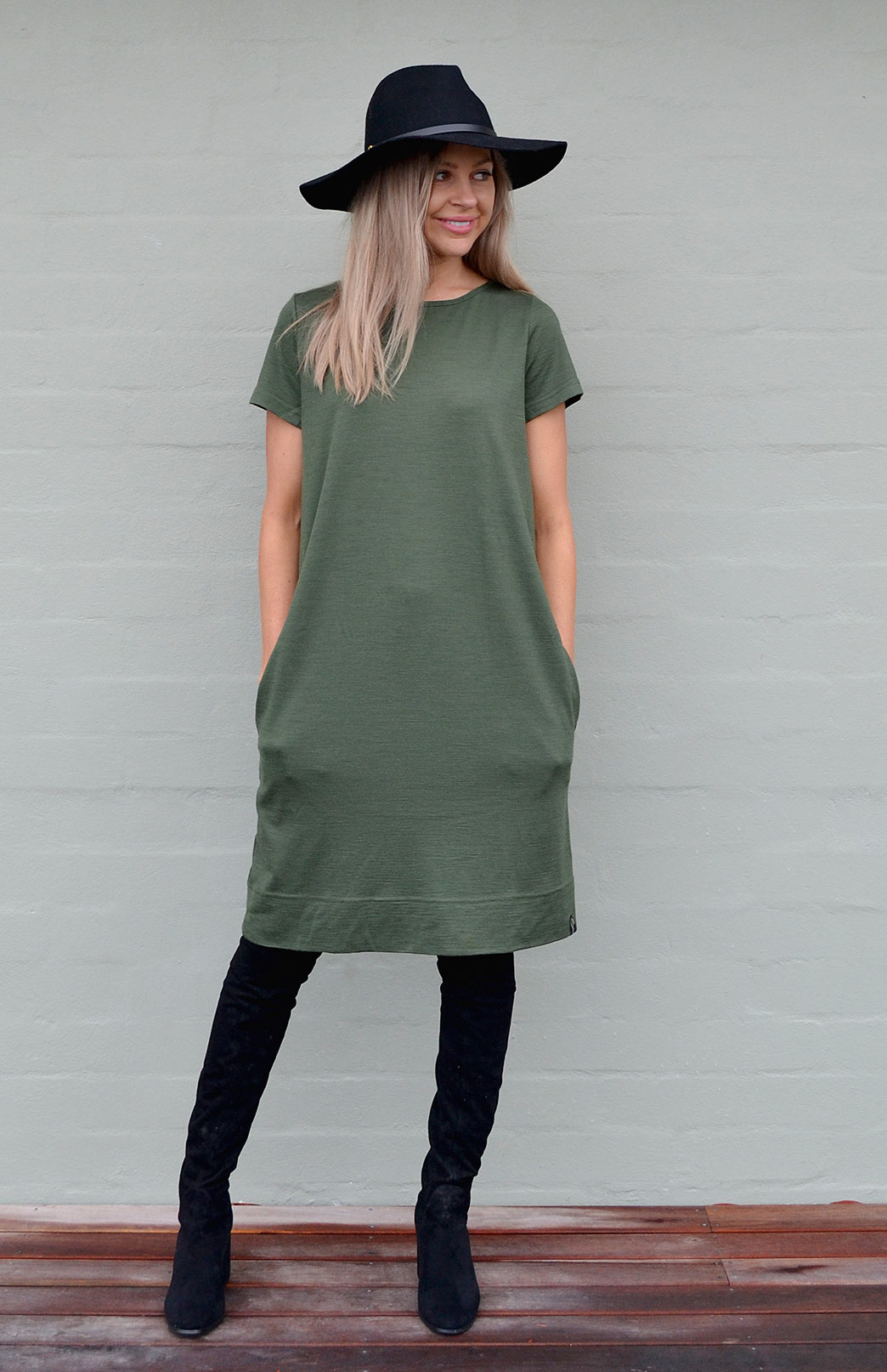 Tiffany Dress - Women's Green Merino Wool Classic Dress With Pockets - Smitten Merino Tasmania Australia