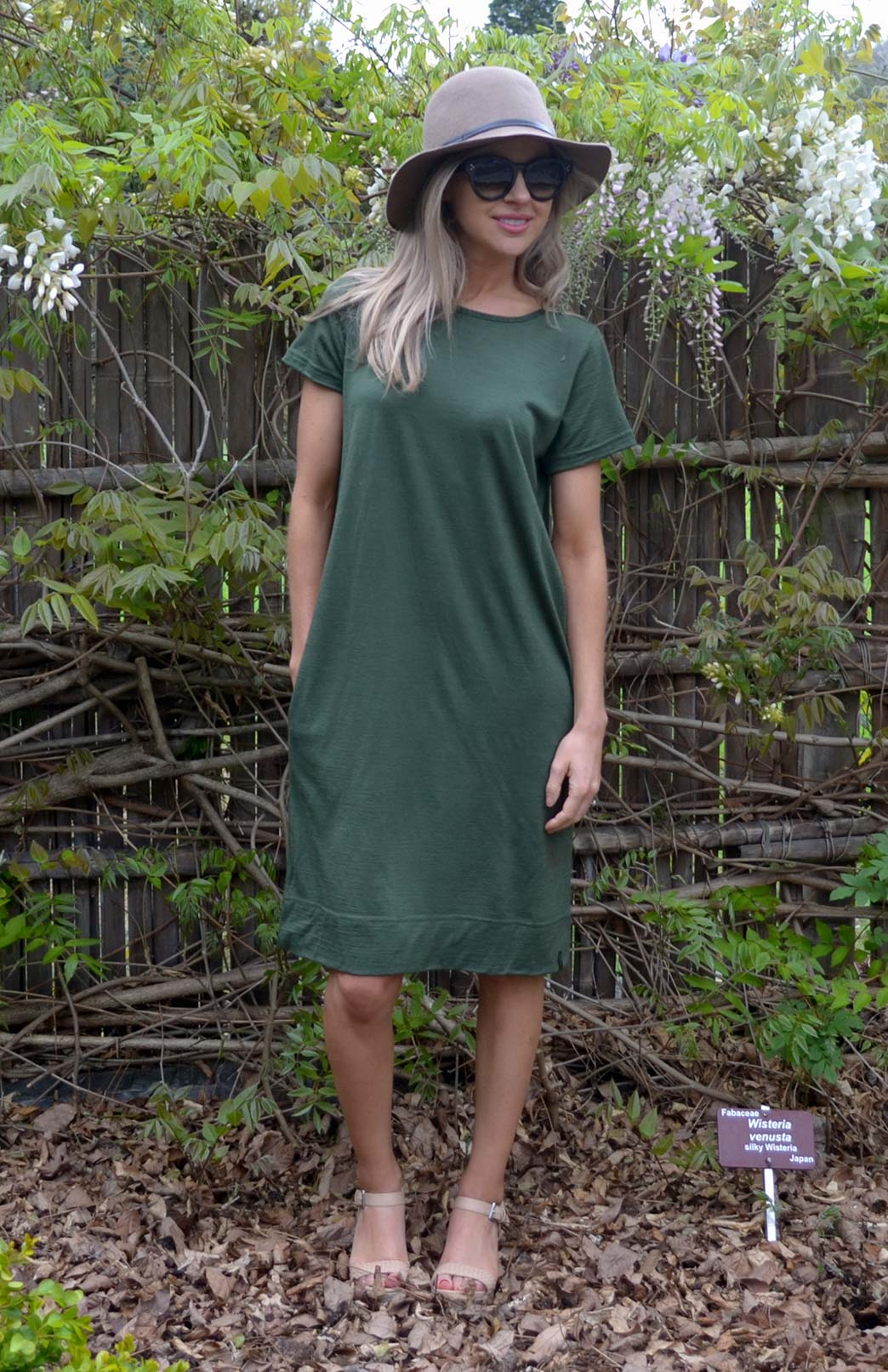 Tiffany Shift Dress - Women's Green Short Sleeved Merino Wool Shift Dress - Smitten Merino Tasmania Australia