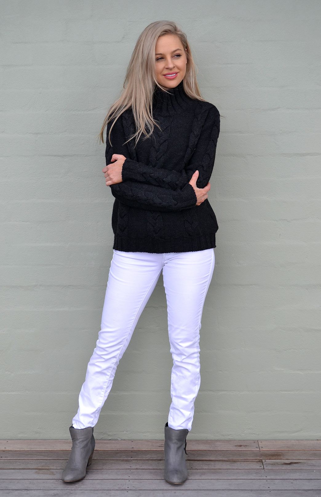 Our Model wearing Cable-knit Jumper in charcoal