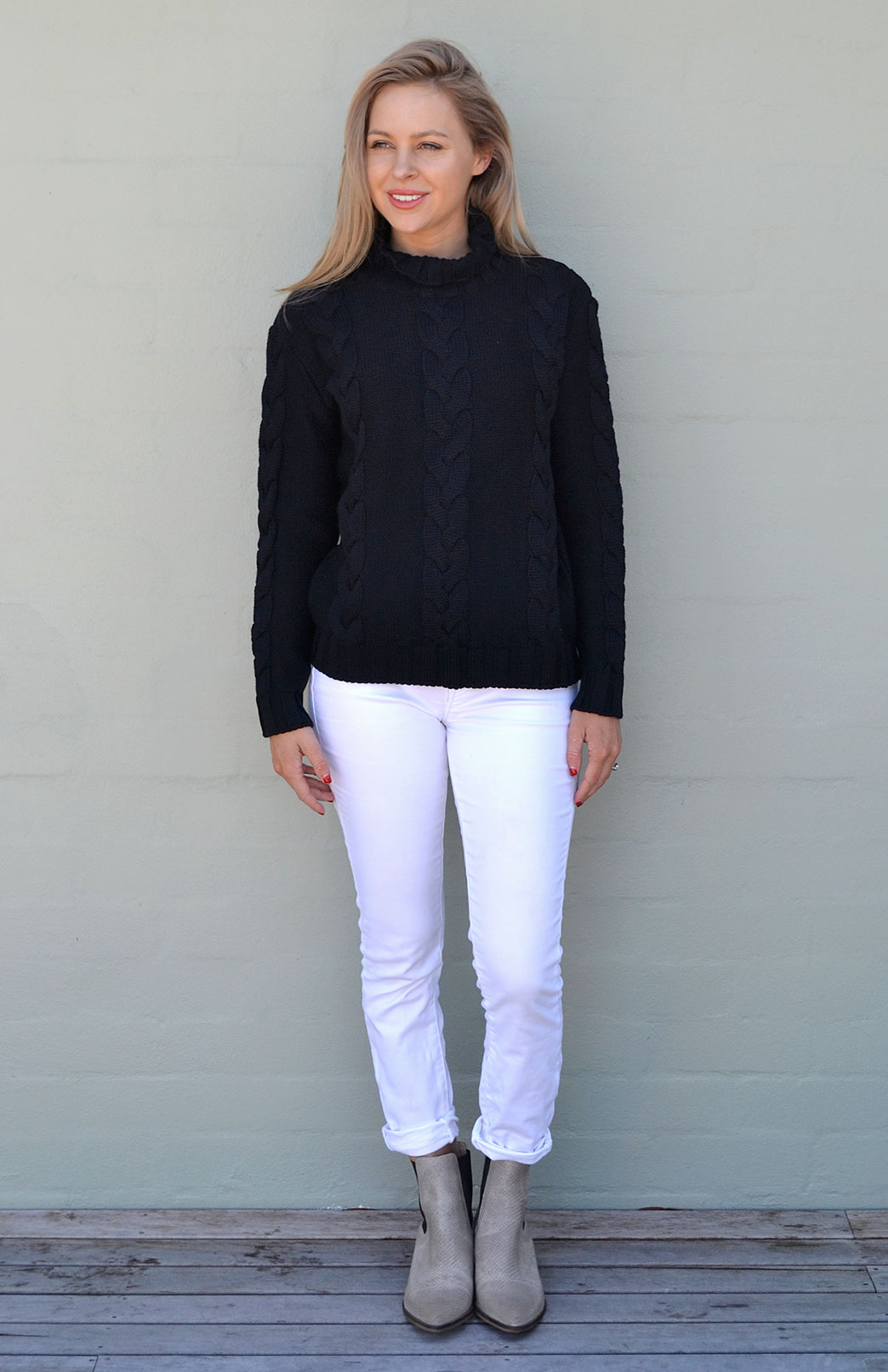 Cable Jumper - Women's Pure Merino Wool Navy Blue Cable Knit Jumper - Smitten Merino Tasmania Australia