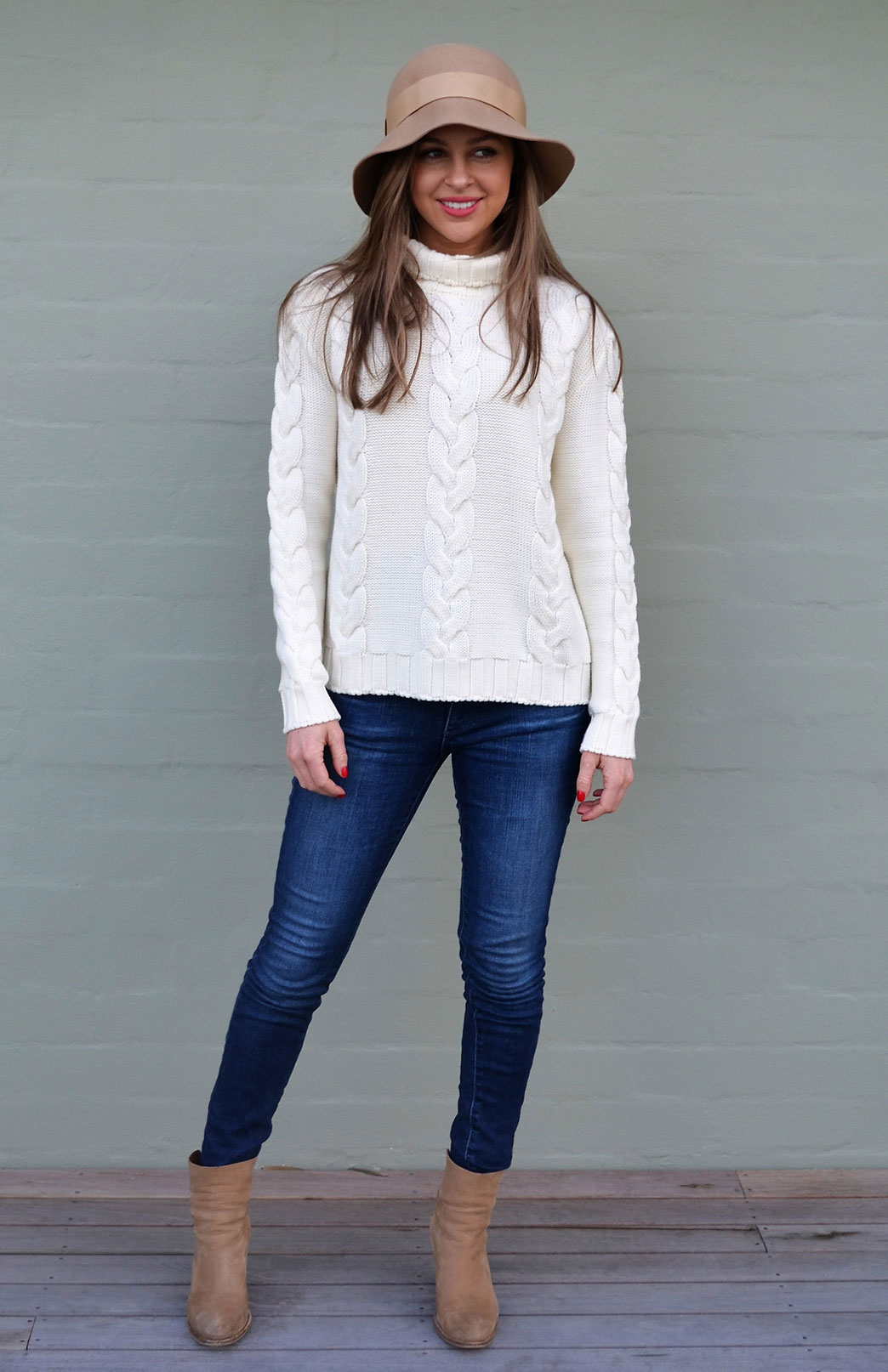 Cable Jumper - Women's Pure Merino Wool Ivory Cable Knit Jumper - Smitten Merino Tasmania Australia