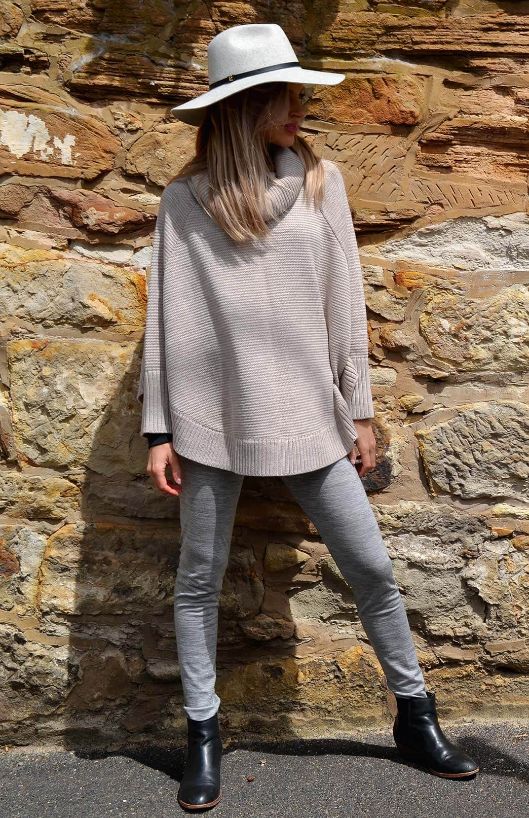 Chunky Knit Cowl Neck Poncho With Sleeves Women S