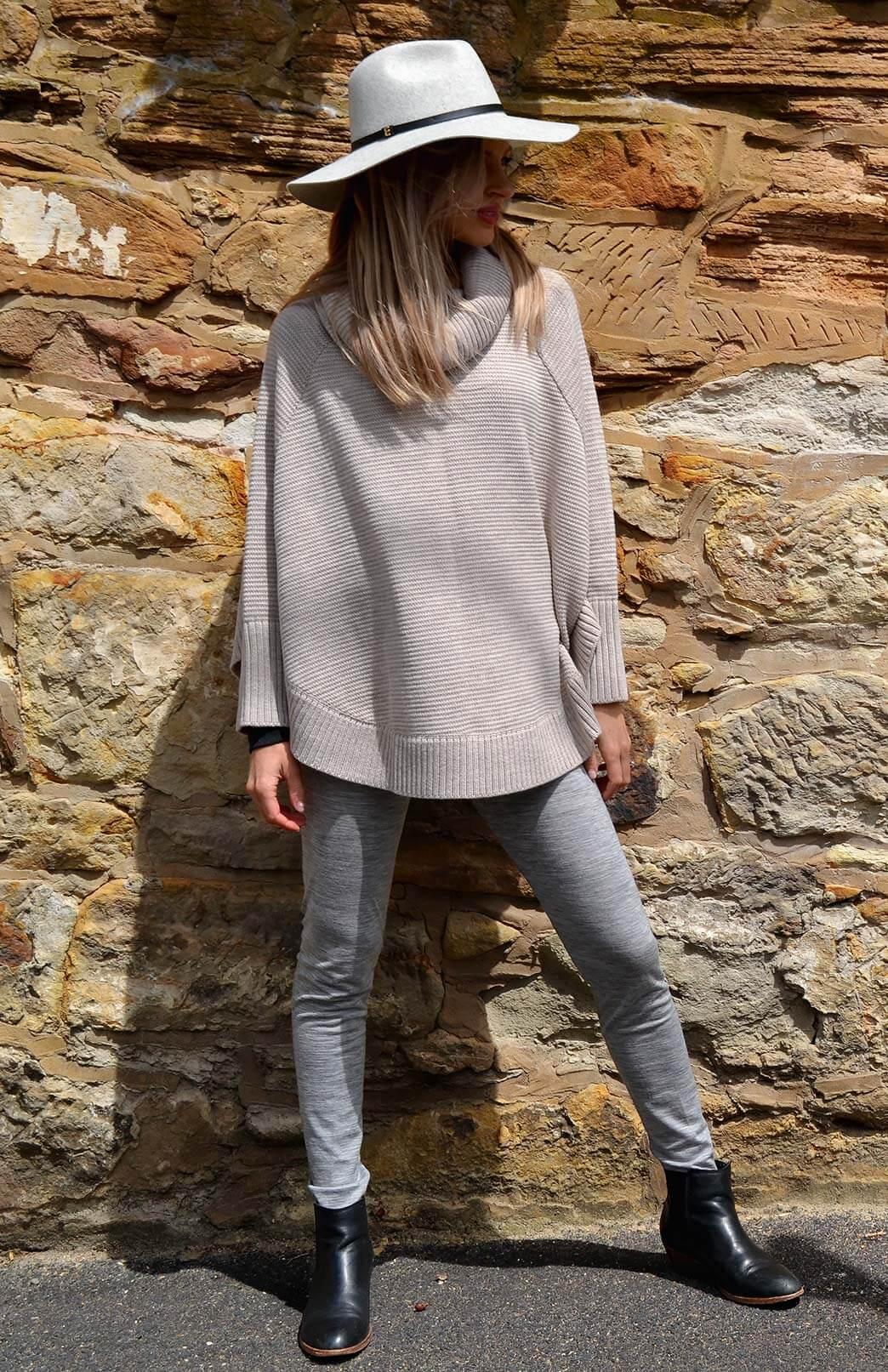 Chunky Merino Wool Cowl Neck Poncho With Sleeves - Women's Oatmeal Wool Poncho with sleeves and cowl neck line - Smitten Merino Tasmania Australia