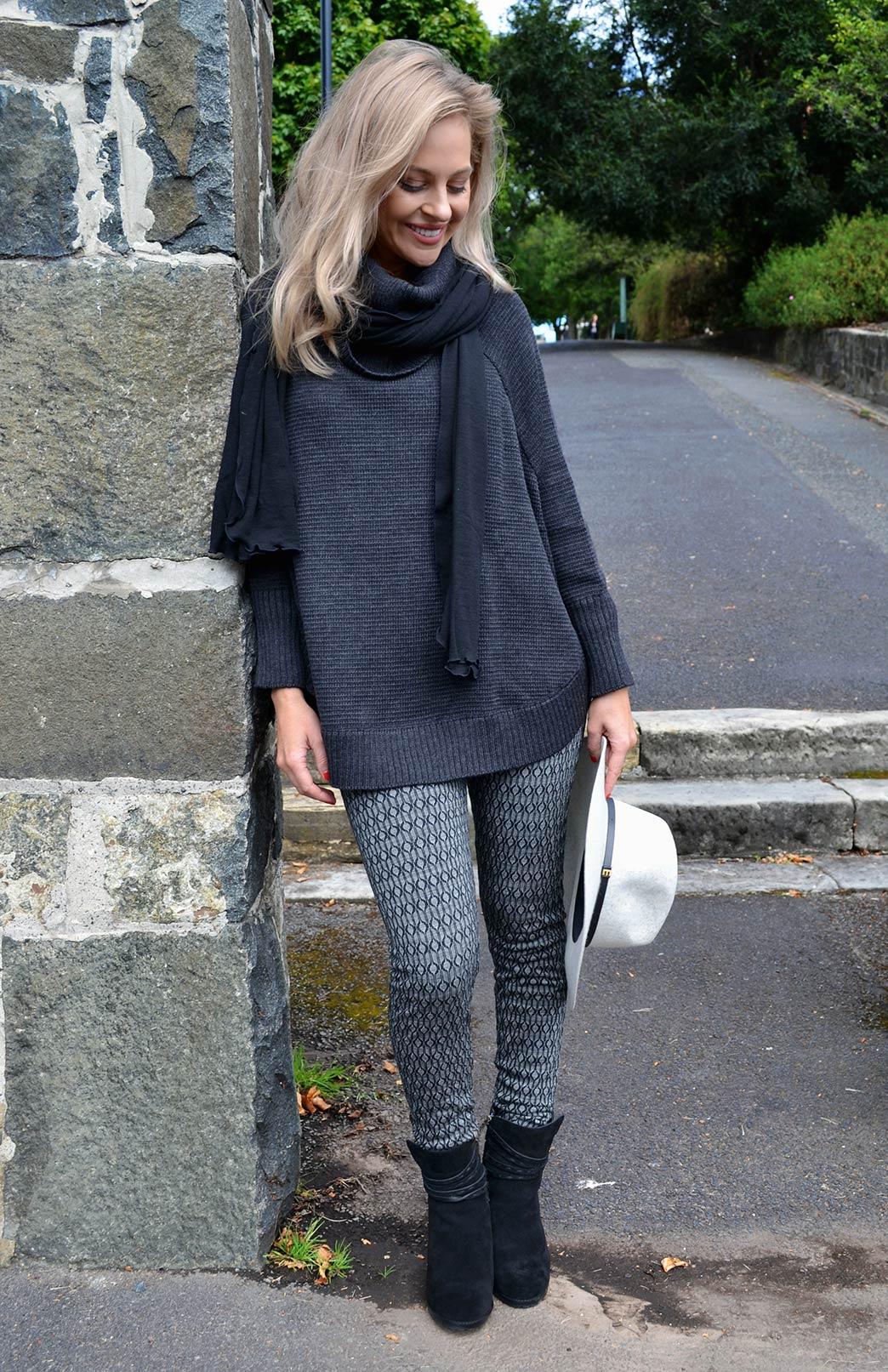 Chunky Merino Wool Cowl Neck Poncho With Sleeves - Women's Charcoal Grey Wool Poncho with sleeves and cowl neck line - Smitten Merino Tasmania Australia