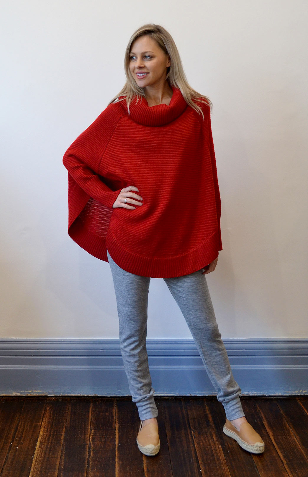 Chunky Merino Wool Cowl Neck Poncho With Sleeve - Women's Red Chunky Knit Merino Wool Winter Poncho - Smitten Merino Tasmania Australia