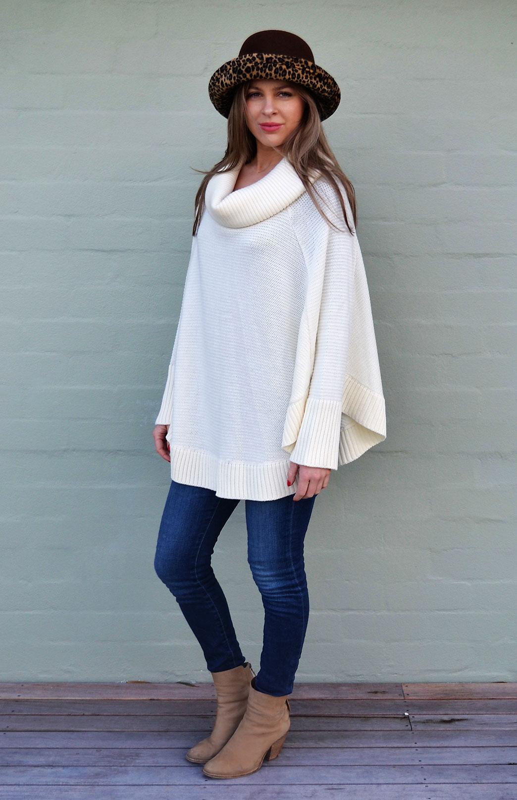 Chunky Cowl Neck Poncho with Sleeves - Women's Ivory Wool Poncho with sleeves and cowl neck line - Smitten Merino Tasmania Australia