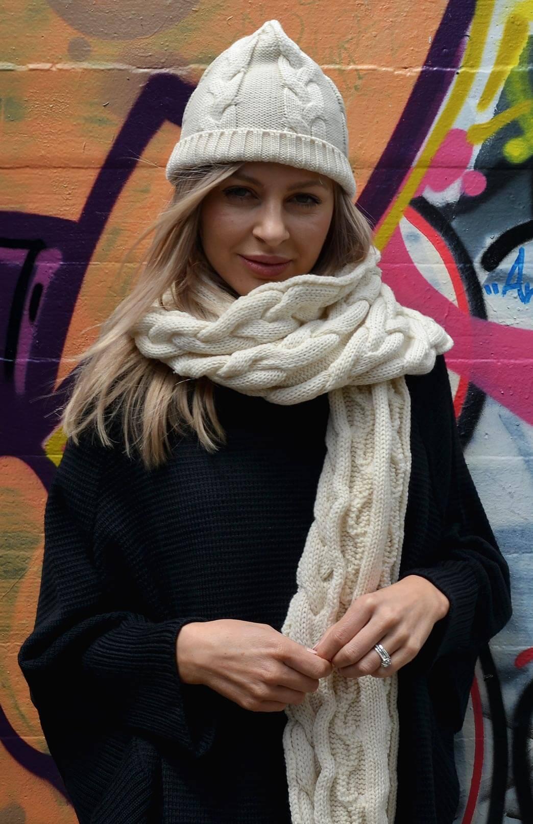 Beanies - Chunky Cable Knit - Women's Vanilla Cream Cable Knit Chunky Wool Beanie - Smitten Merino Tasmania Australia
