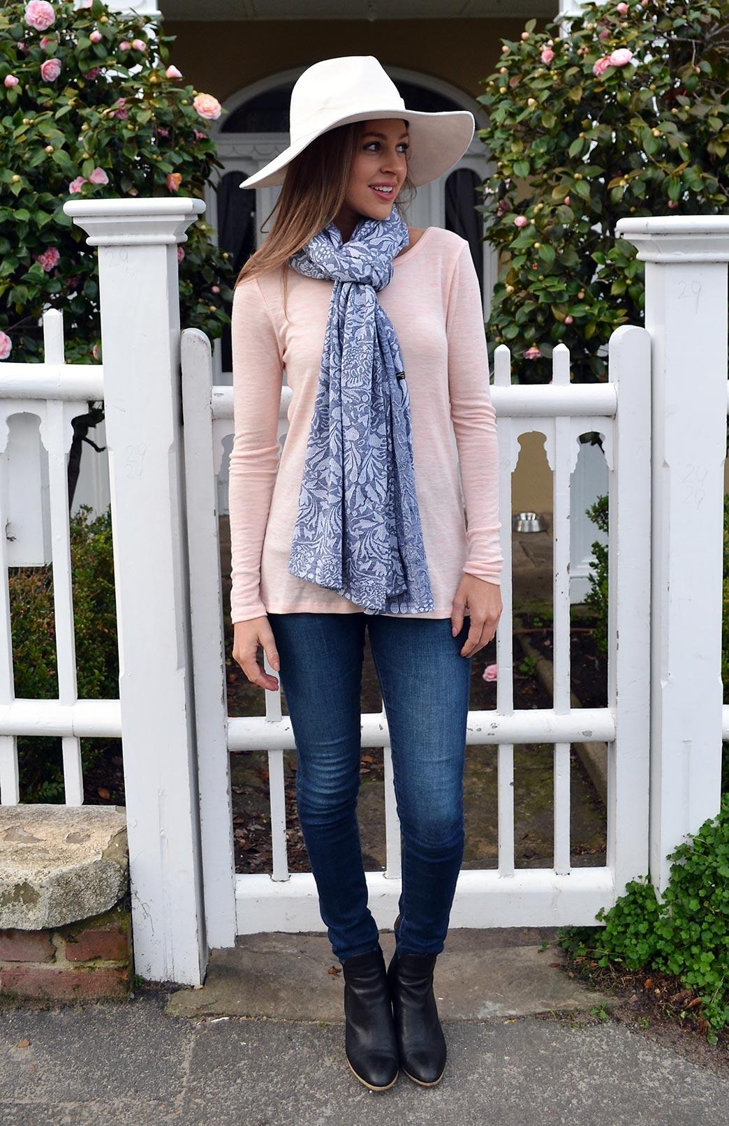 Rose Top - Women's Pink Marl Long Sleeve Wool Top - Smitten Merino Tasmania Australia