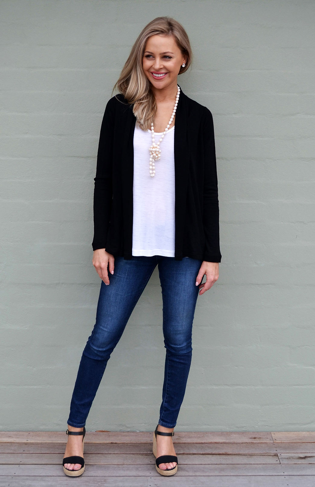 Mini Drape Cardigan in Black