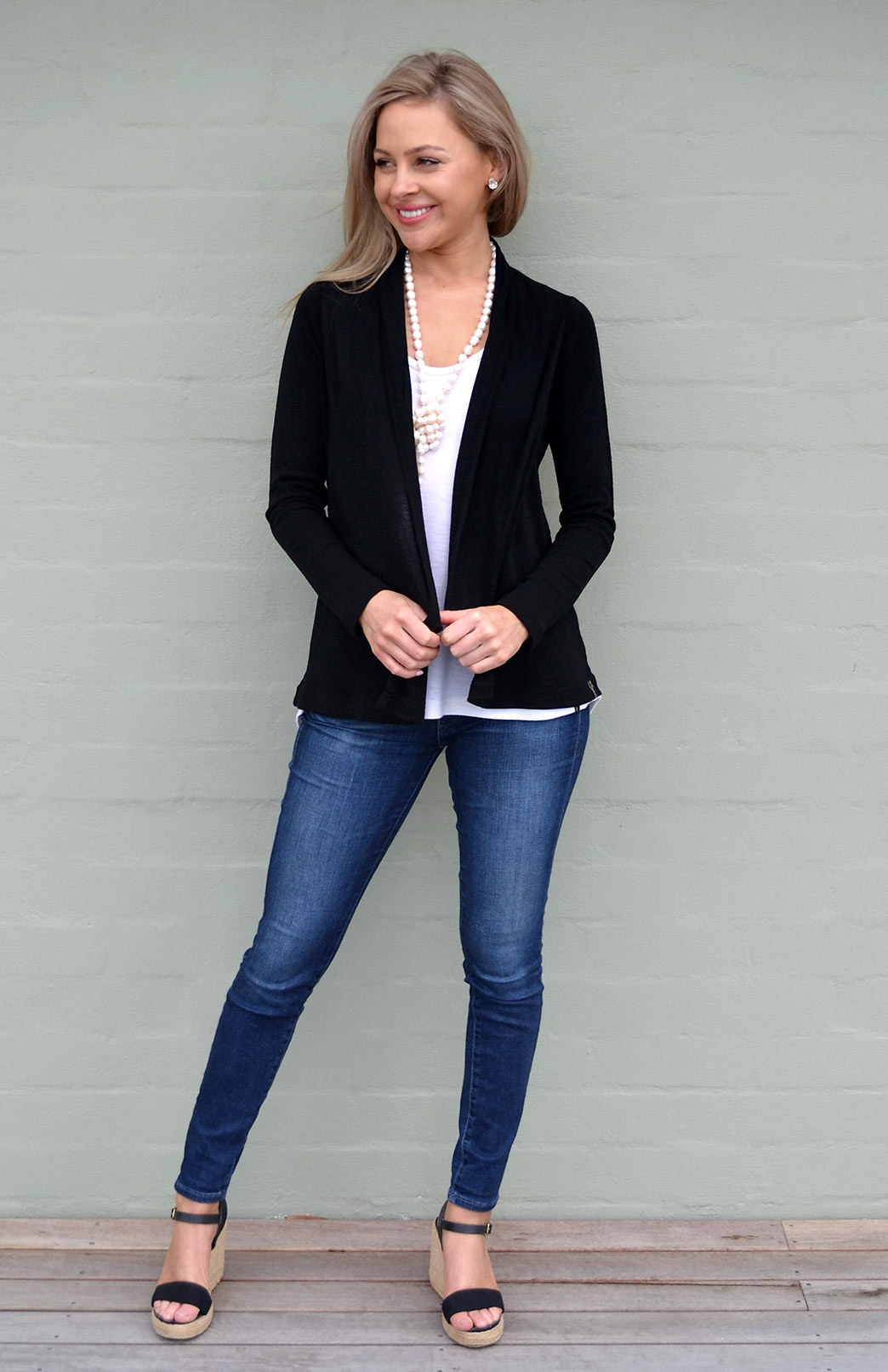 Mini Drape Cardigan - Women's Black Merino Wool Maternity Drape Cardigan - Smitten Merino Tasmania Australia