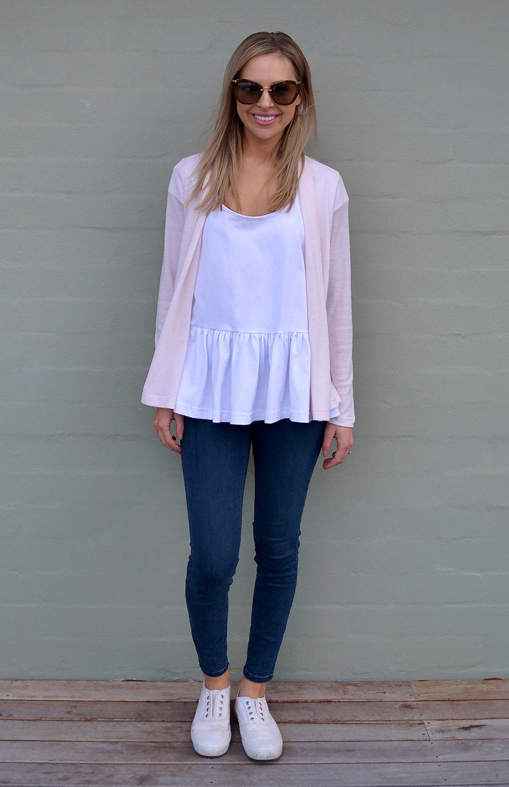 Mini Drape Cardigan - Women's Soft Pale Pink Long Sleeve Merino Wool Cardigan - Smitten Merino Tasmania Australia