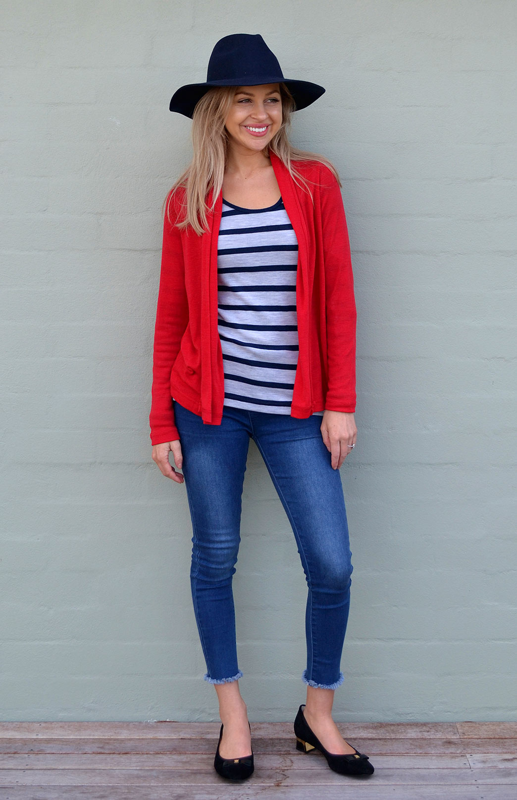 Mini Drape Cardigan - Women's Bright Flame Red Long Sleeve Merino Wool Cardigan - Smitten Merino Tasmania Australia