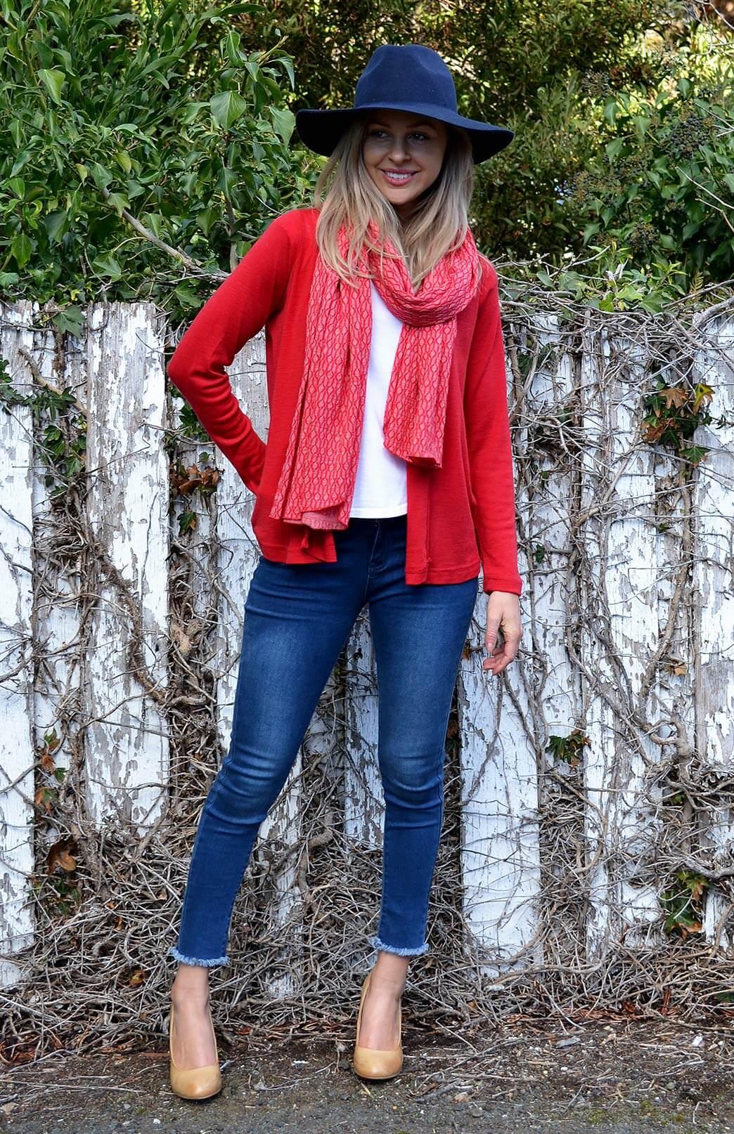 Mini Drape Cardigan - Women's Flame Red Merino Wool Maternity Drape Cardigan - Smitten Merino Tasmania Australia