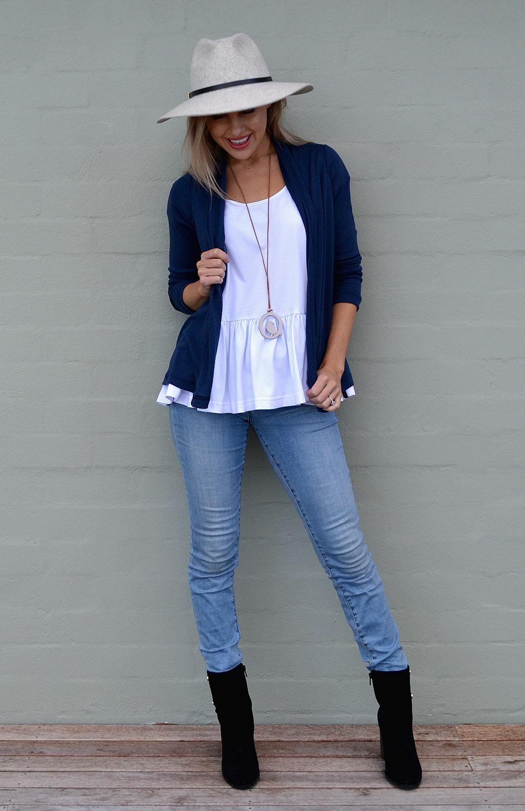 Mini Drape Cardigan - Women's Dark Indigo Blue Long Sleeve Merino Wool Cardigan - Smitten Merino Tasmania Australia