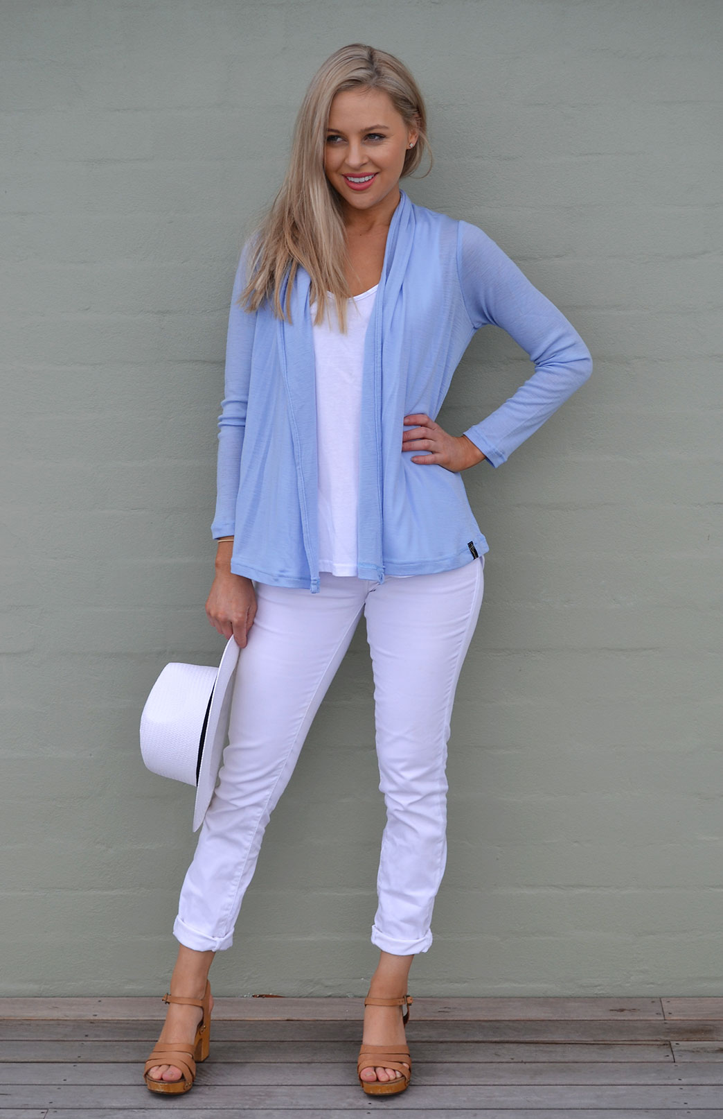 Mini Drape Cardigan - Women's Soft Pale Blue Long Sleeve Merino Wool Cardigan - Smitten Merino Tasmania Australia