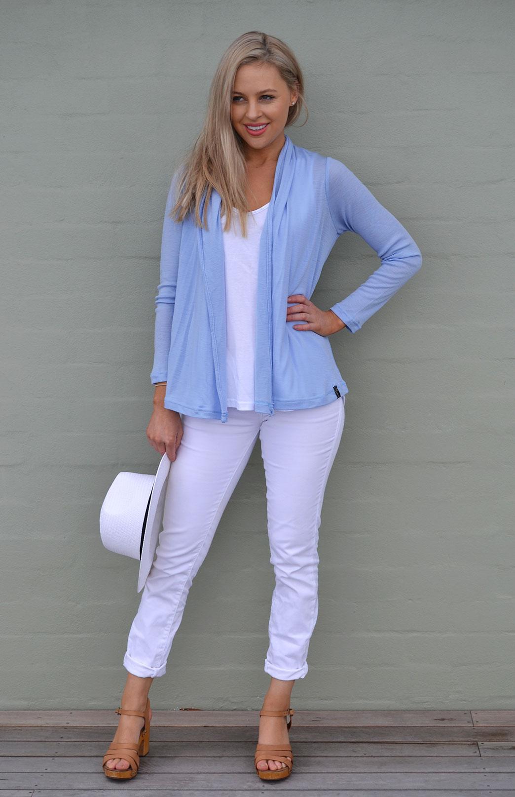 Mini Drape Cardigan - Women's Soft Pale Blue Long Sleeve Merino Wool Cardigan - Smitten Merino Tasmania Australia