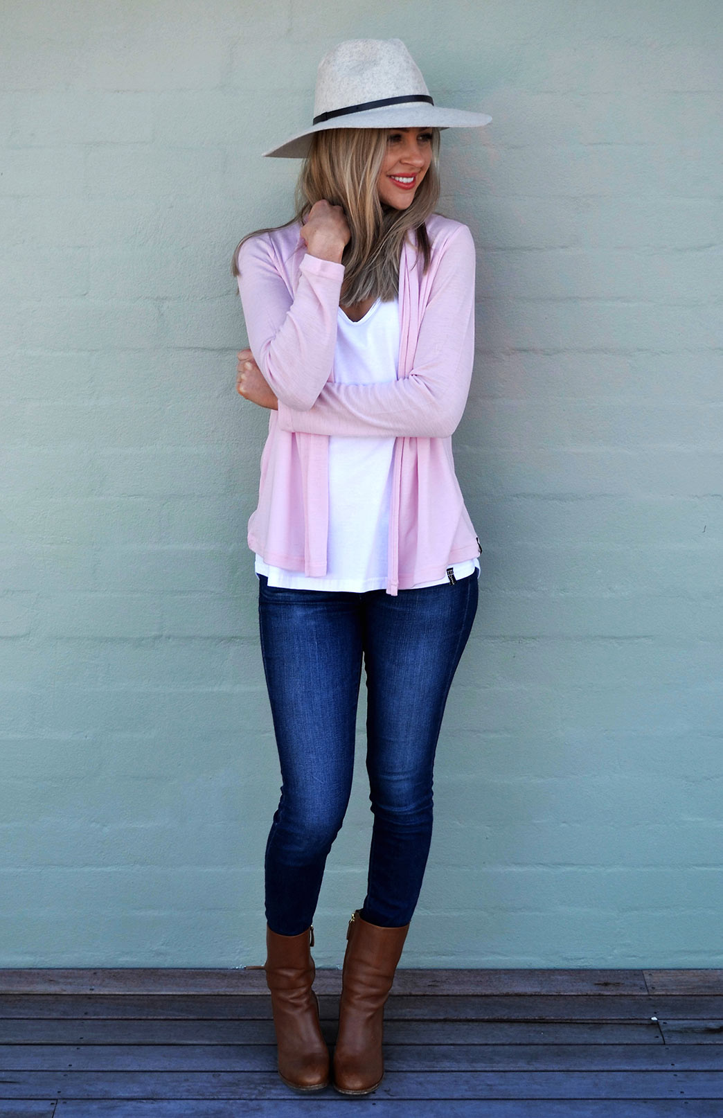 Mini Drape Cardigan in Pink