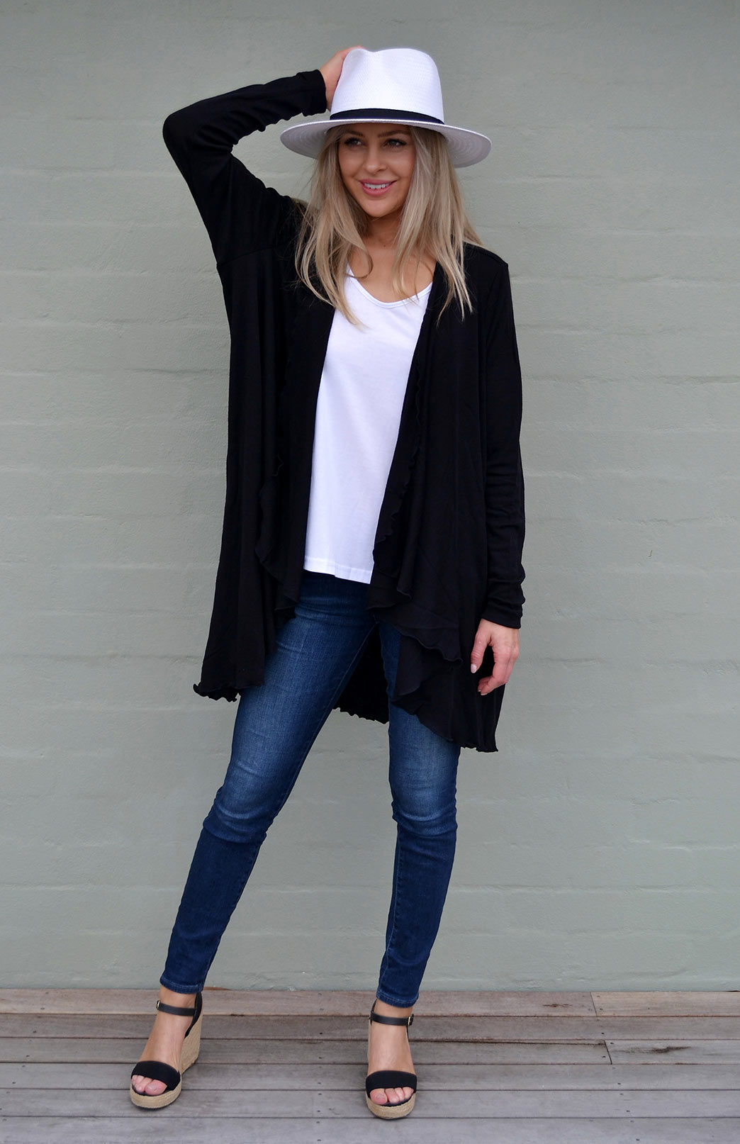 Swing Cardigan - Women's Black Long Sleeved Wrap Around Merino Wool Swing Cardigan - Smitten Merino Tasmania Australia