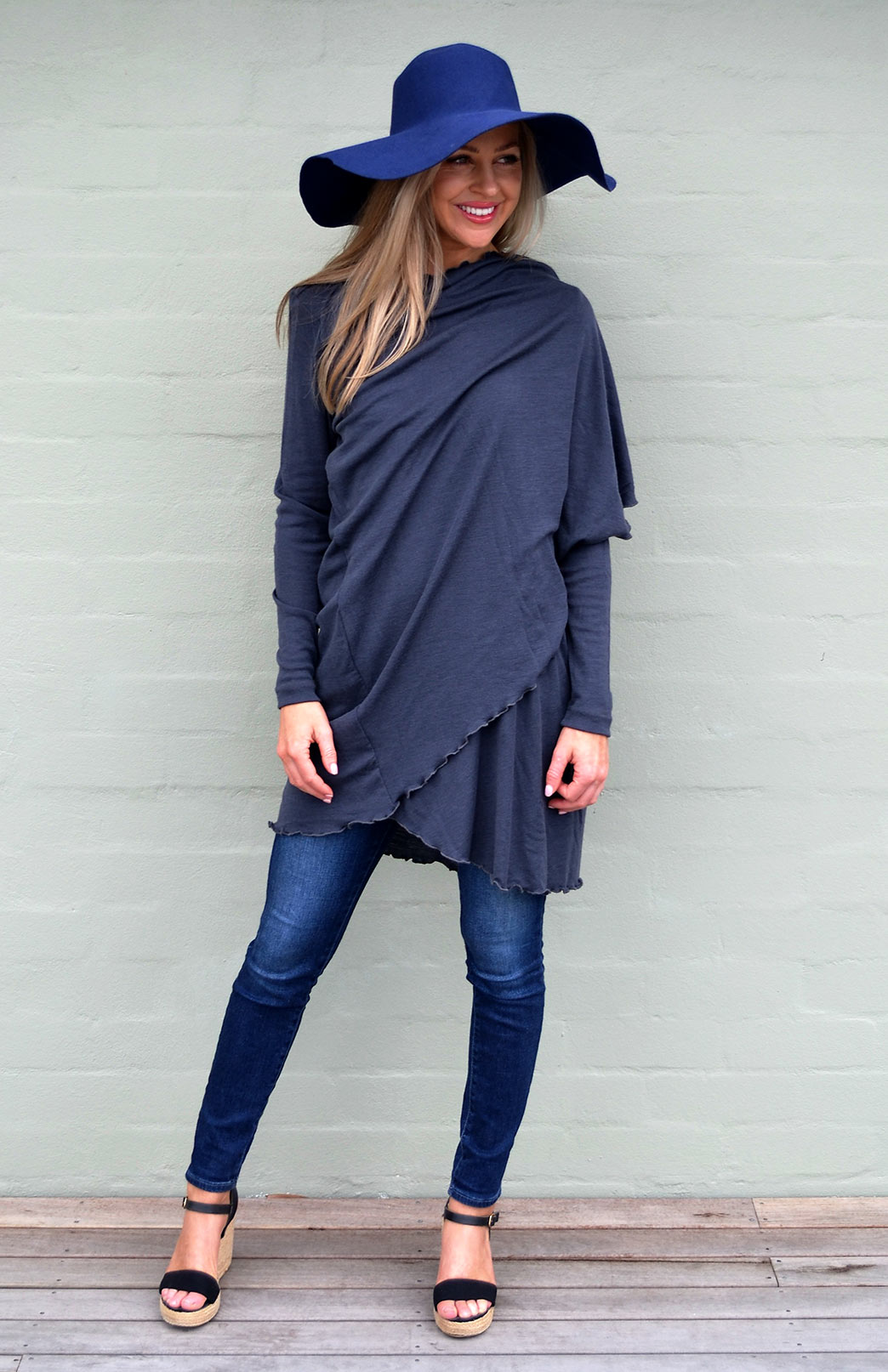 Swing Cardigan - Women's Steel Grey Long Sleeved Wrap Around Merino Wool Swing Cardigan - Smitten Merino Tasmania Australia