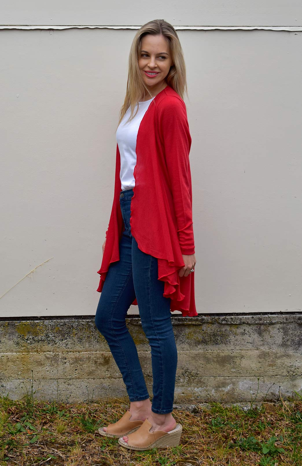 Swing Cardigan - Women's Flame Red Long Sleeved Wrap Around Merino Wool Swing Cardigan - Smitten Merino Tasmania Australia