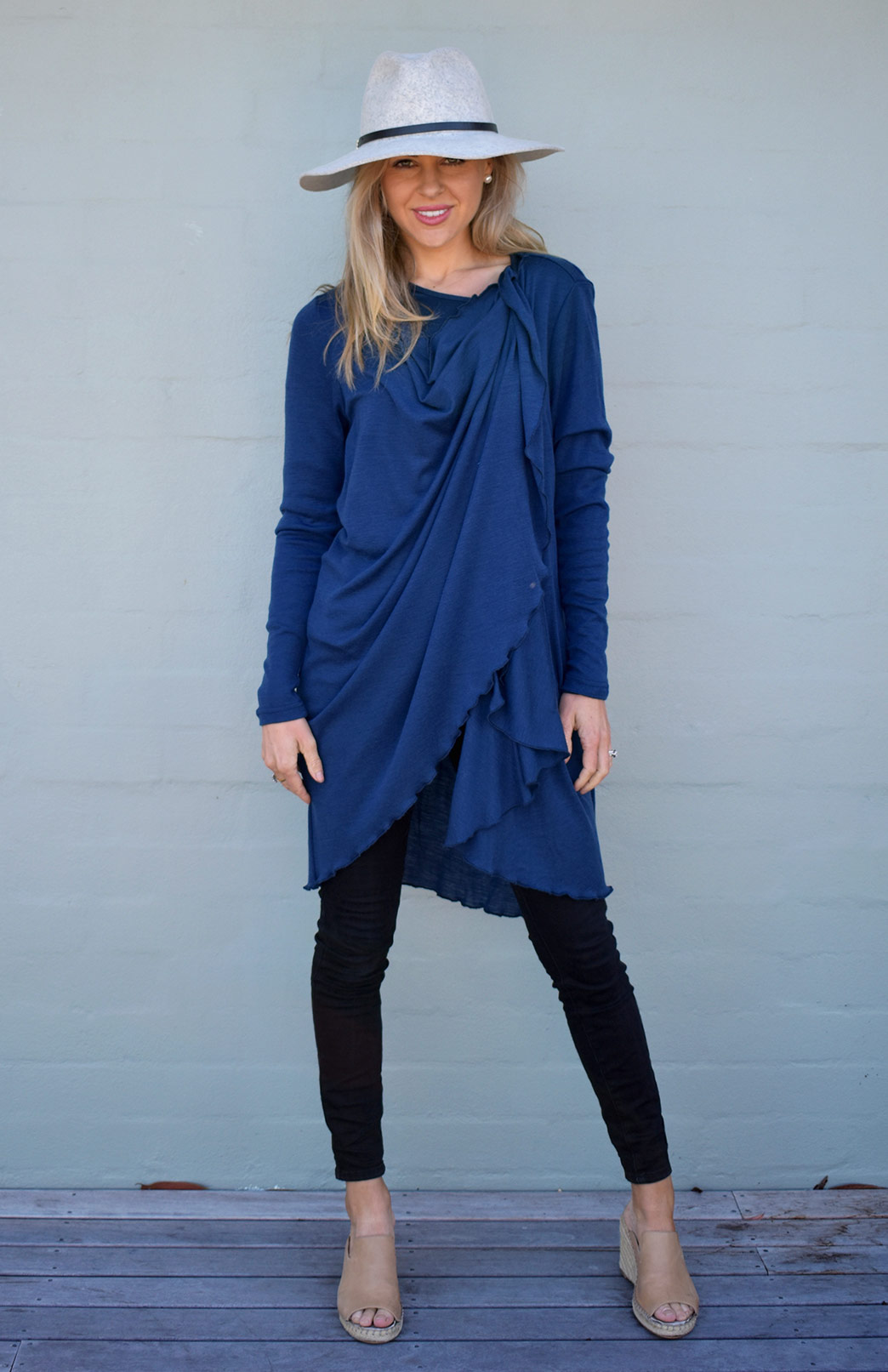 Swing Cardigan - Women's Indigo Blue Long Sleeved Wrap Around Merino Wool Swing Cardigan - Smitten Merino Tasmania Australia