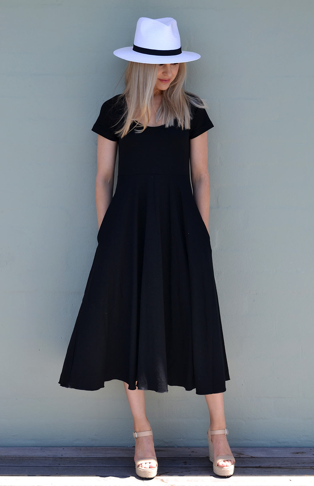 Carrie Dress - Women's Cap Sleeve Classic Black Merino Wool Summer Dress - Smitten Merino Tasmania Australia
