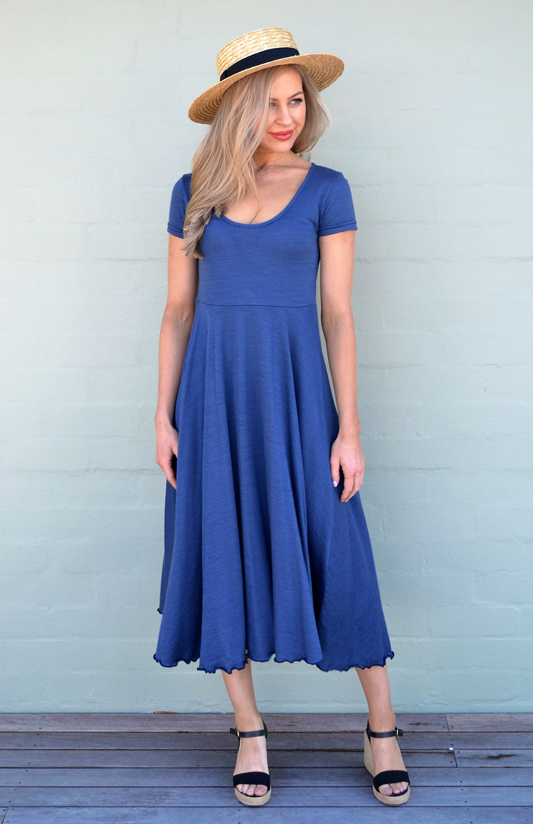 Carrie Dress - Women's Cap-Sleeve Blue Wool Summer Dress - Smitten Merino Tasmania Australia