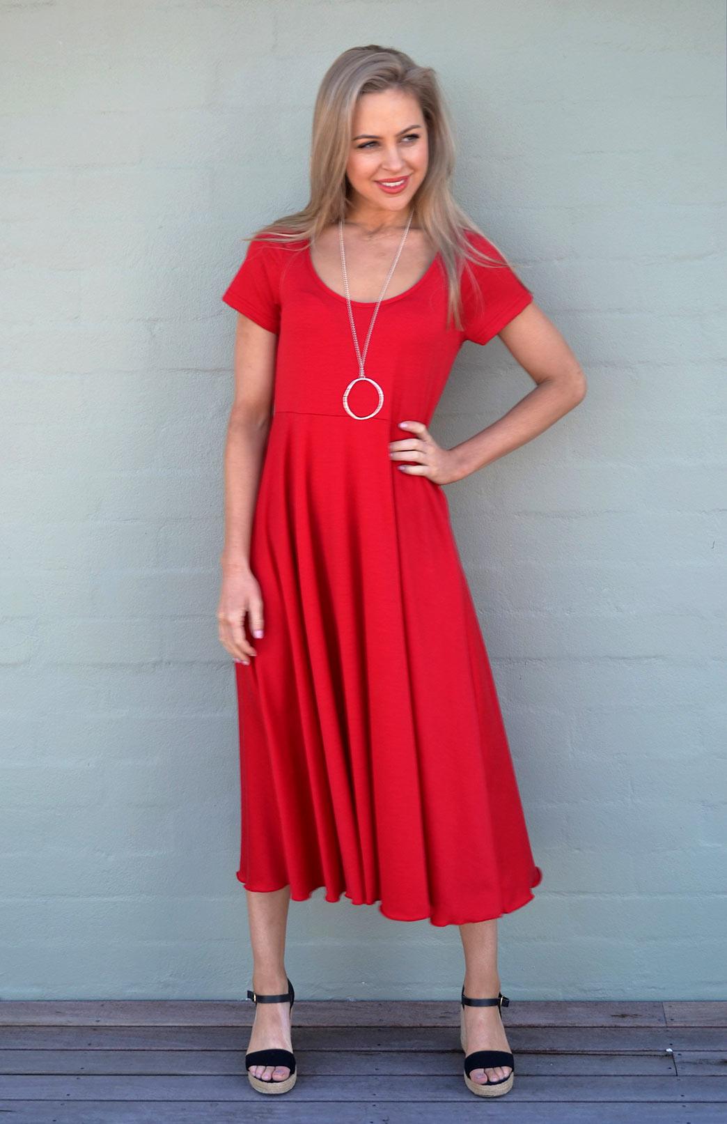 Carrie Dress - Women's Cap Sleeve Red Wool Summer Dress - Smitten Merino Tasmania Australia
