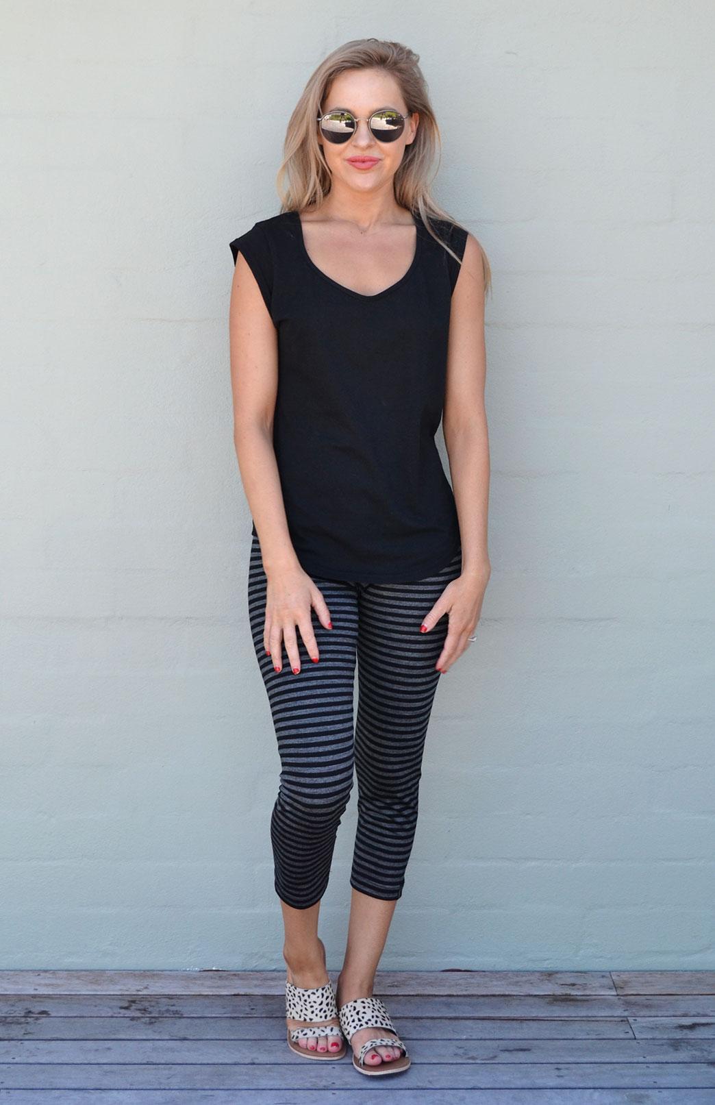 Leggings - 7/8 Length - Women's Black & Grey Striped 7/8 Length Leggings with elastic waistband - Smitten Merino Tasmania Australia