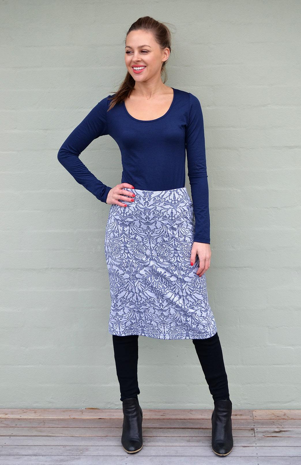 Abbey Floral A-line Skirt - Smitten Merino Tasmania Australia
