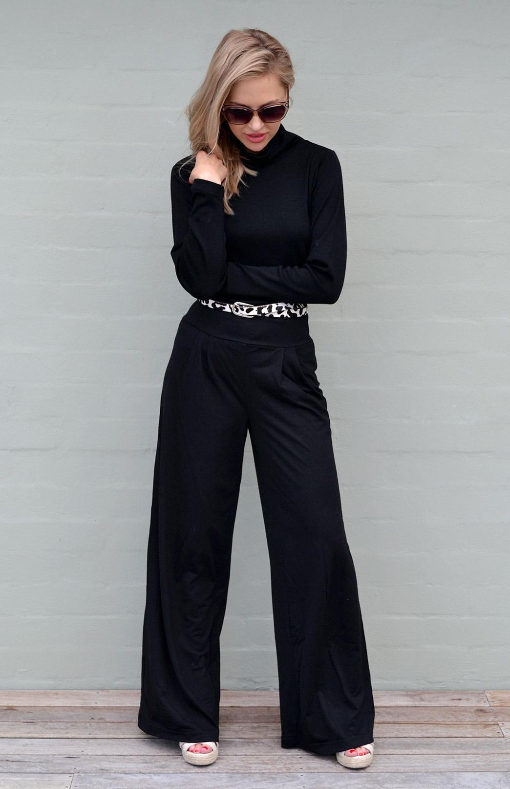 Palazzo Pants - Midweight - Women's Black Merino Wool Flared Wide Leg Yoga Pants with wide waistband - Smitten Merino Tasmania Australia
