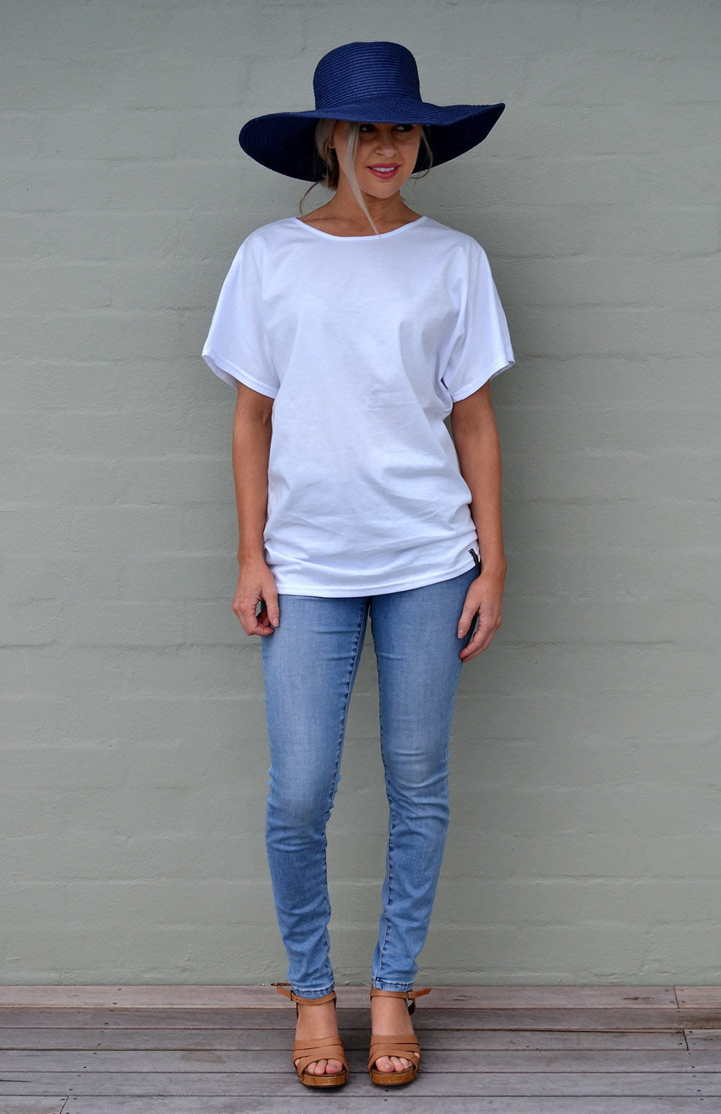 Loose T-Shirt - Cotton - Women's White Cotton Loose Summer T-Shirt - Smitten Merino Tasmania Australia