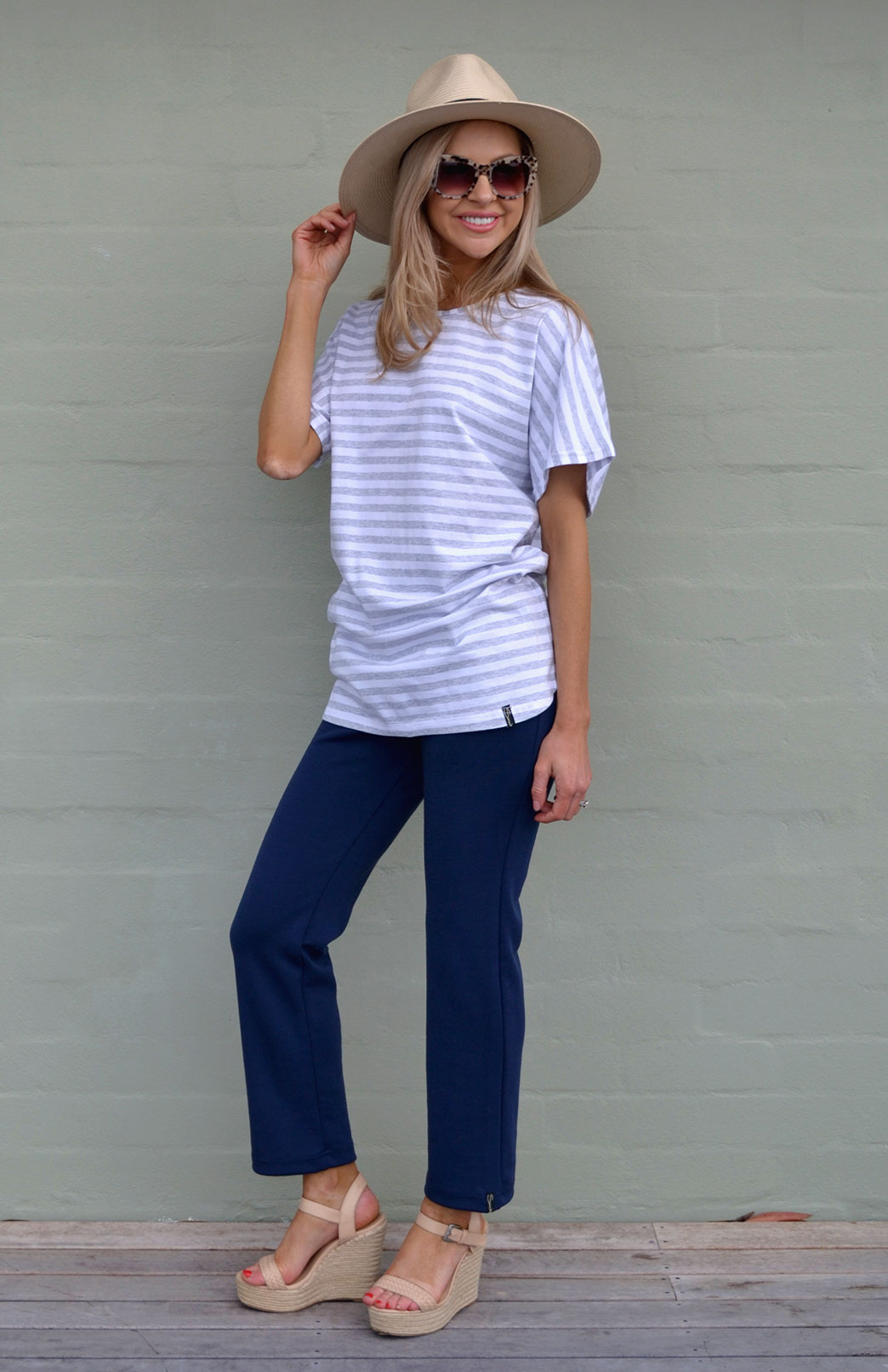 Loose T-Shirt - Cotton - Women's Striped Cotton Loose T-Shirt - Smitten Merino Tasmania Australia