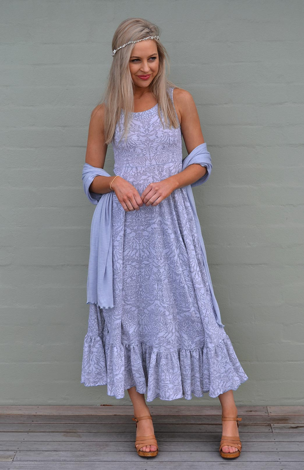 Fleur Maxi Dress - Women's Soft Grey and White Floral Merino Wool Sleeveless Summer Maxi Dress - Smitten Merino Tasmania Australia