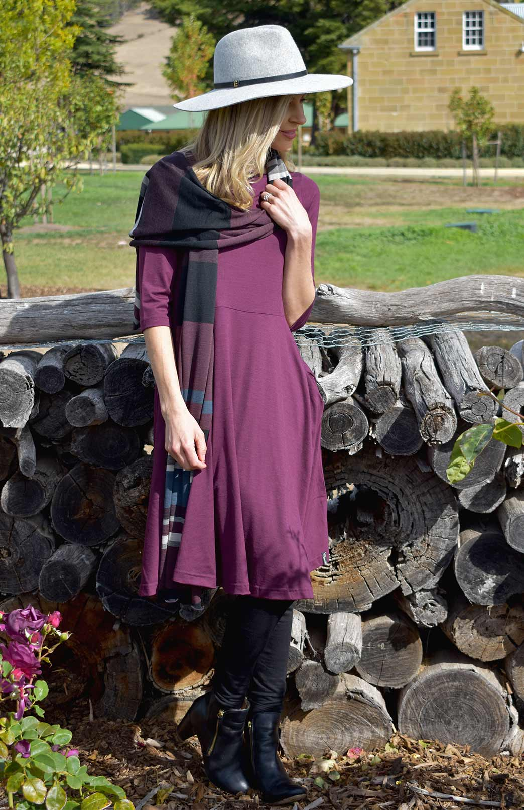 Mary Dress - Women's Aubergine Knee Length 3/4 Sleeved Fit and Flare Merino Wool Dress with Pockets - Smitten Merino Tasmania Australia
