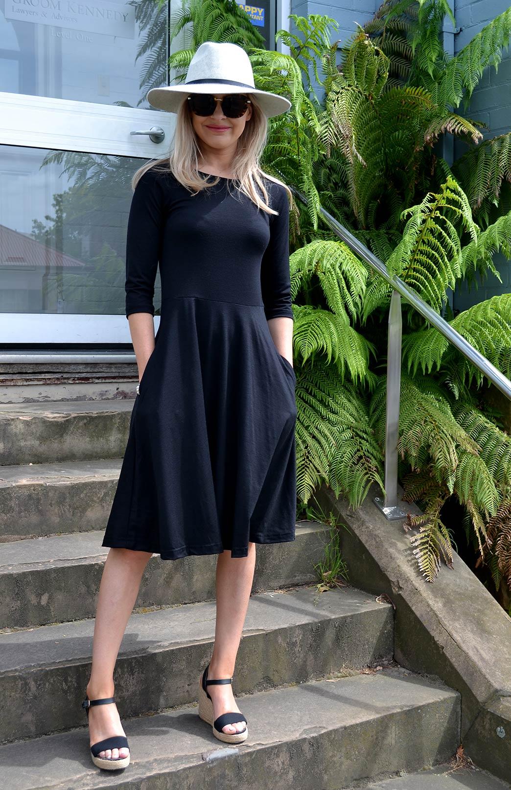 Mary Dress - Women's Black Knee Length 3/4 Sleeved Fit and Flare Merino Wool Dress with Pockets - Smitten Merino Tasmania Australia