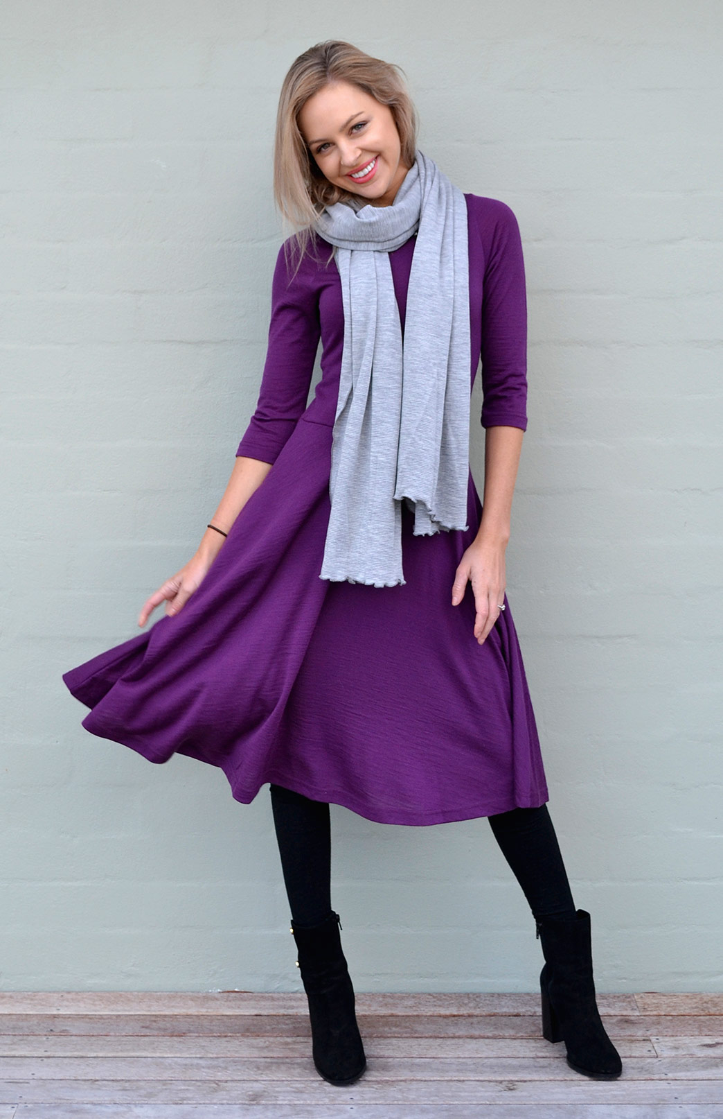 Mary Fit and Flare Dress - Women's Merino Wool Purple Fit and Flare Dress with 3/4 sleeves and pockets - Smitten Merino Tasmania Australia