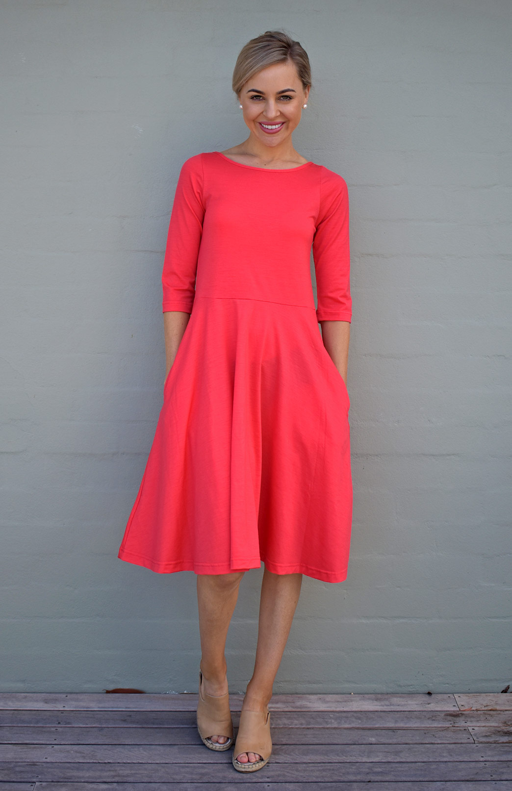 Mary Dress - Women's Coral Knee Length 3/4 Sleeved Fit and Flare Merino Wool Dress with Pockets - Smitten Merino Tasmania Australia