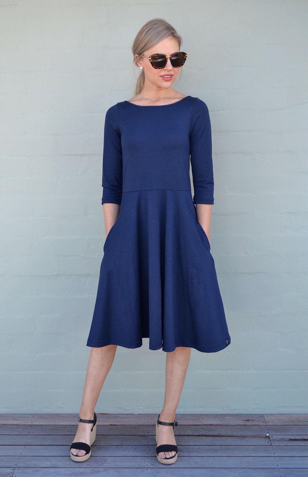 4acf3cb54c610 Mary Dress - Women s Indigo Blue Knee Length 3 4 Sleeved Fit and Flare  Merino. Enlarge