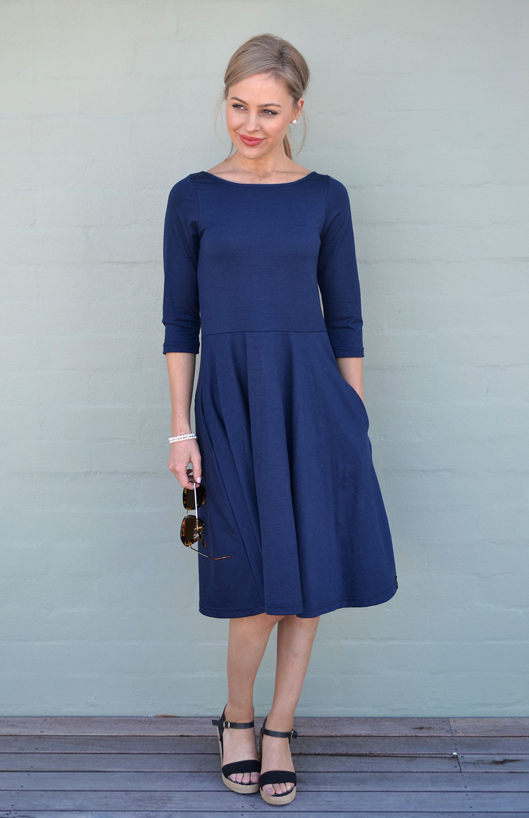 Mary Dress - Women's Indigo Blue Knee Length 3/4 Sleeved Fit and Flare Merino Wool Dress with Pockets - Smitten Merino Tasmania Australia