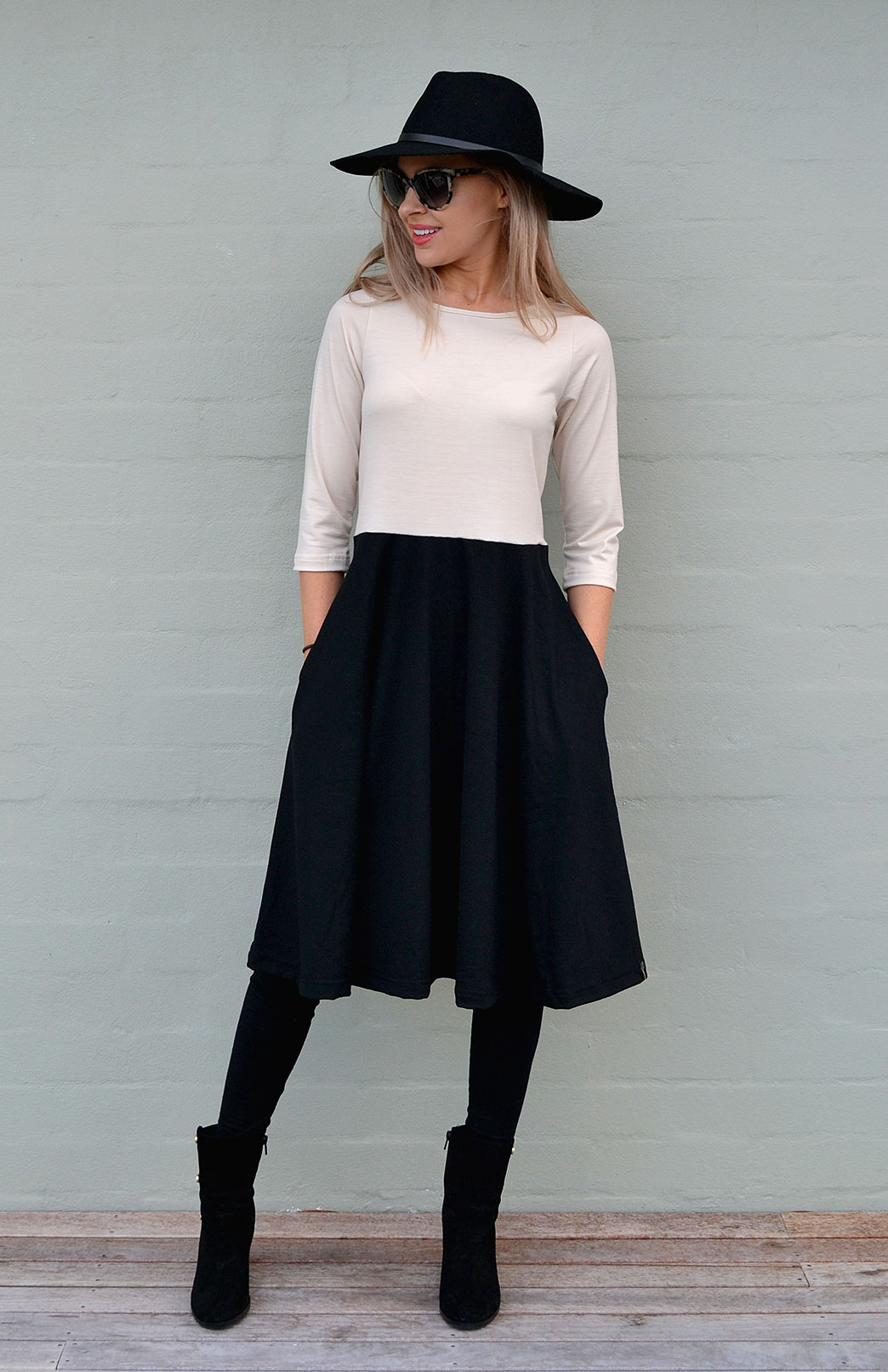 Mary Fit and Flare Dress - Women's Black and Cream Knee Length 3/4 Sleeved Fit and Flare Merino Wool Dress with Pockets - Smitten Merino Tasmania Australia