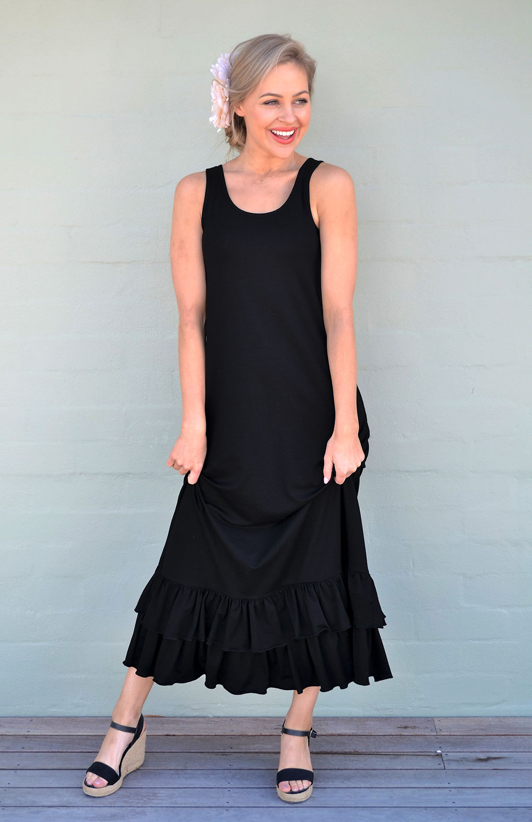 Sofia Maxi Dress - Women's Black Merino Wool Sleeveless Summer Maxi Dress with Ruffle - Smitten Merino Tasmania Australia