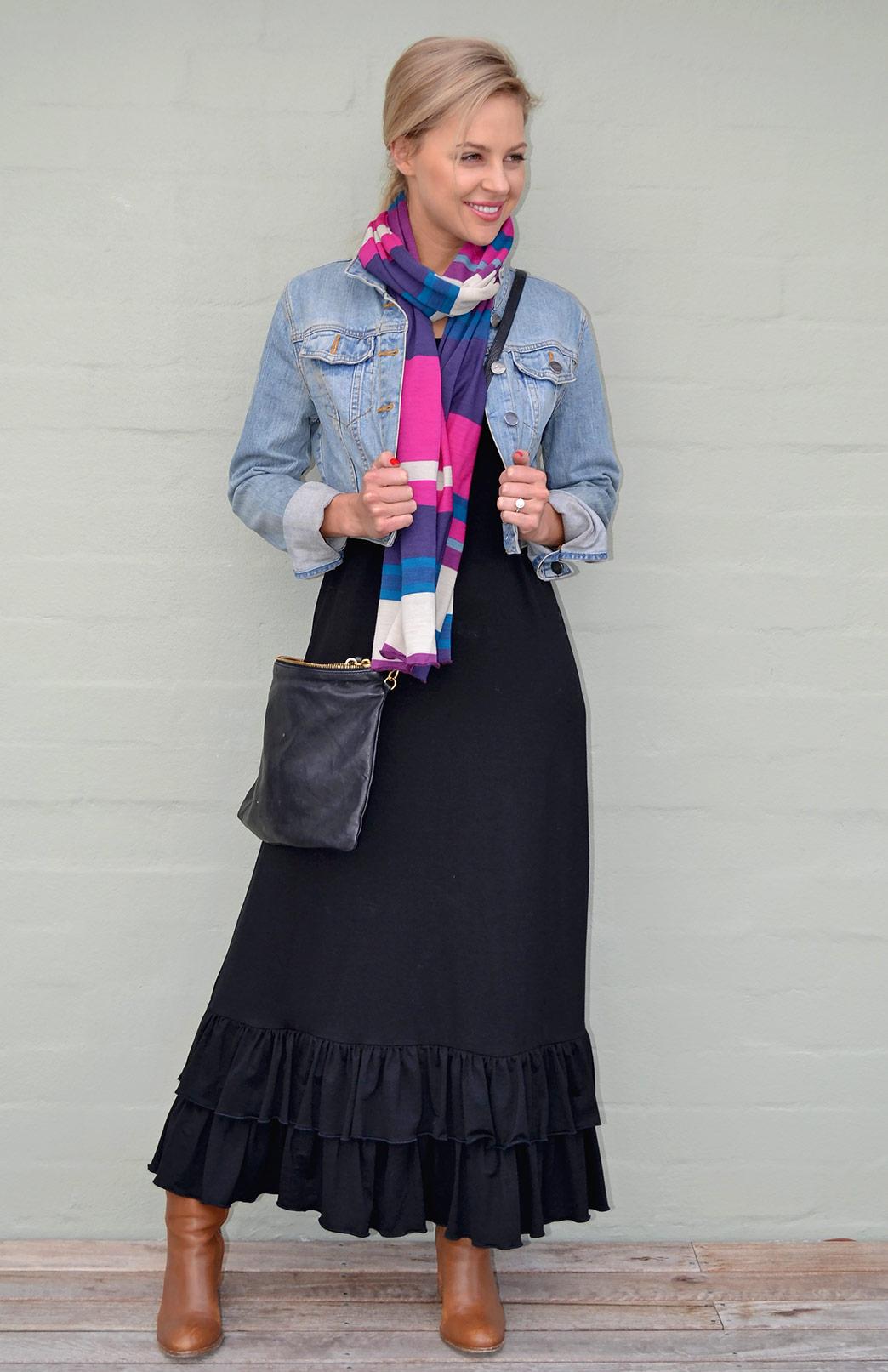 Sofia Maxi Dress - Women's Black Merino Wool Sleeveless Summer Maxi Dress with Ruffle - Smitten Merino Tasmania Australia