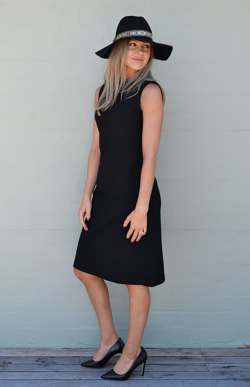 Asha Straight Dress - Women's Black Straight Wool Dress - Smitten Merino Tasmania Australia