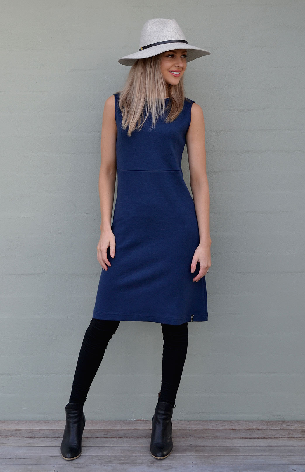 Asha Straight Dress - Women's Indigo Blue Wool Straight Wool Dress - Smitten Merino Tasmania Australia