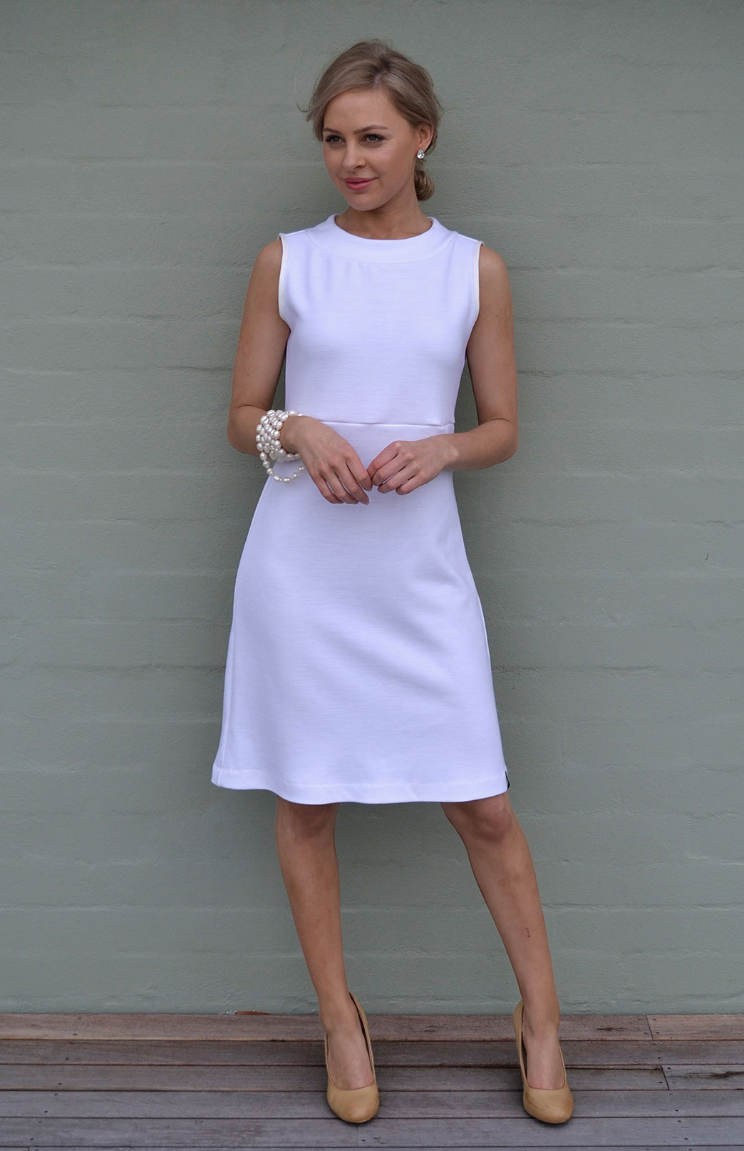 Asha Straight Dress - Women's Ivory Straight Wool Dress - Smitten Merino Tasmania Australia