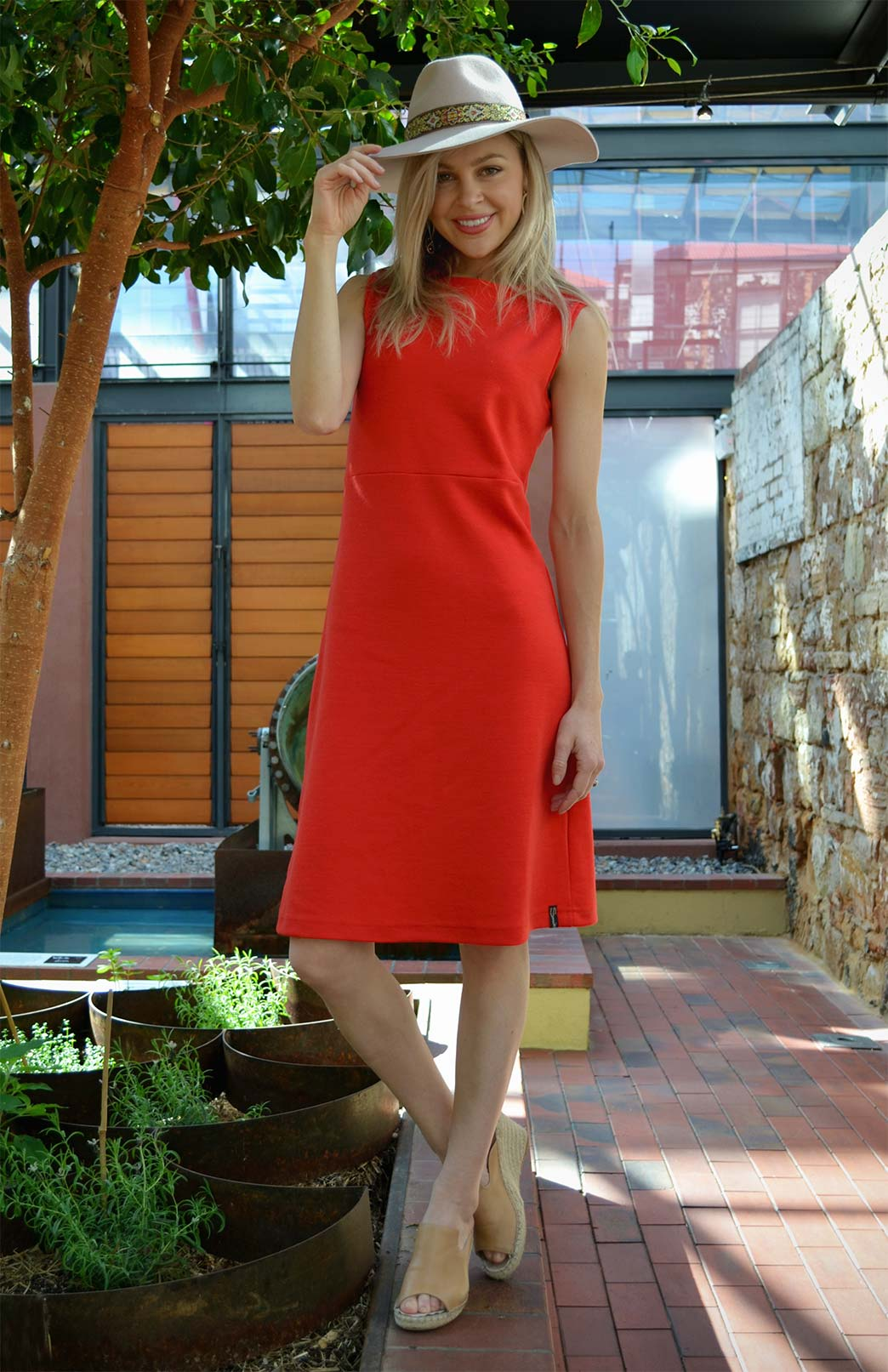 Asha Straight Dress - Women's Californian Poppy Red Straight Wool Dress - Smitten Merino Tasmania Australia