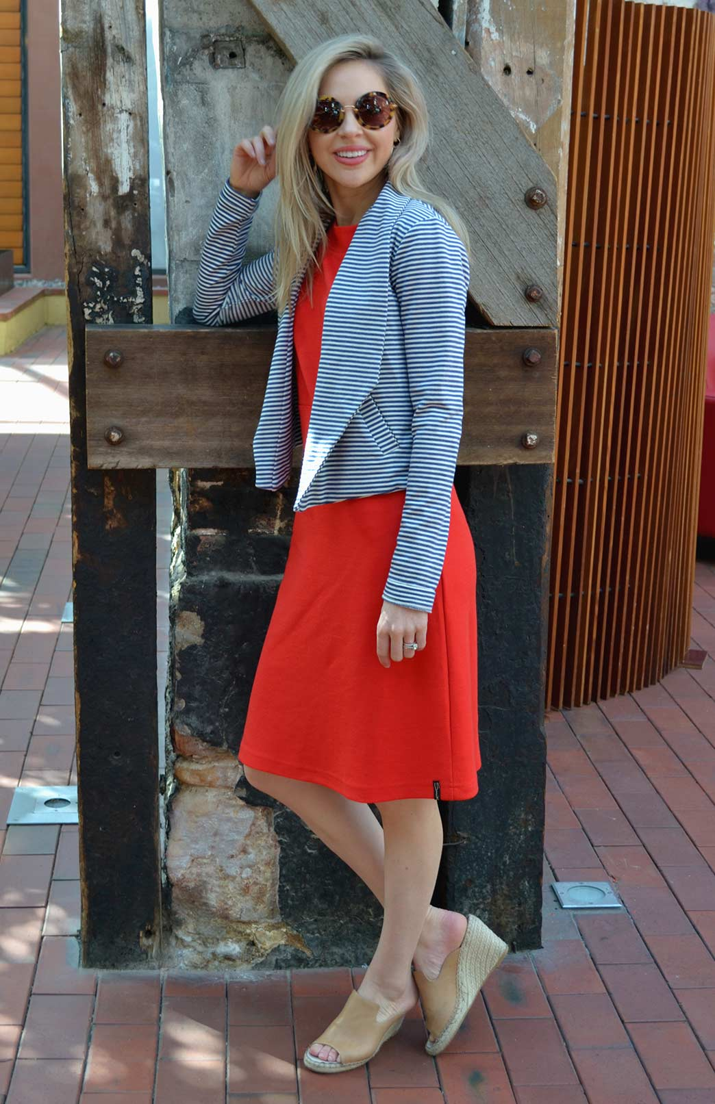 Lapel Jacket - Women's Merino Wool Organic Cotton Blend Striped Lapel - Smitten Merino Tasmania Australia