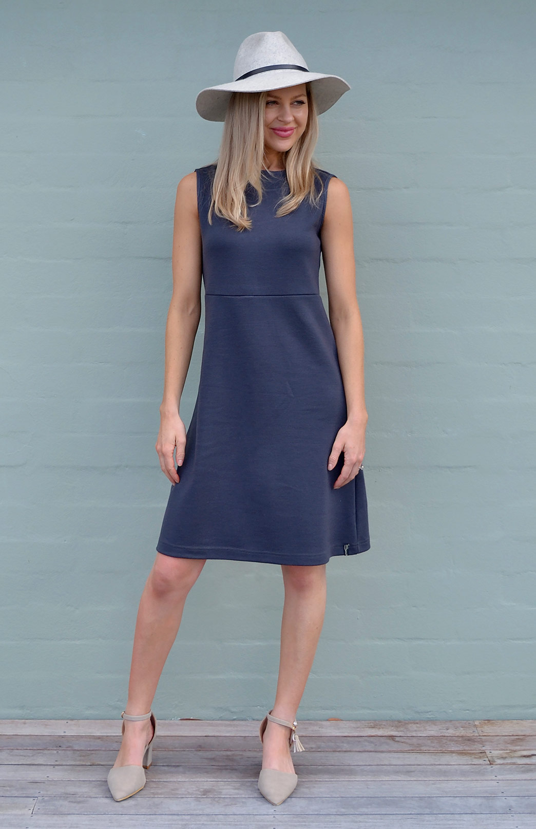 Asha Straight Dress - Women's Steel Grey Straight Wool Dress - Smitten Merino Tasmania Australia